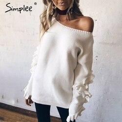 Simplee ruffle 니트 스웨터 여성 풀오버 여성 캐주얼 느슨한 둥근 목 겨울 스웨터 가을 당겨 femme 니트 점퍼