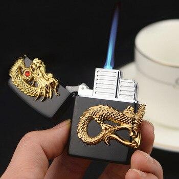 Luxury Torch Turbo Lighter Golden Dragon Relief Metal Refillable Gas Windproof Jet Lighter Unusual Butane Cigarettes Lighter classic retro style windproof zinc alloy butane jet lighter golden