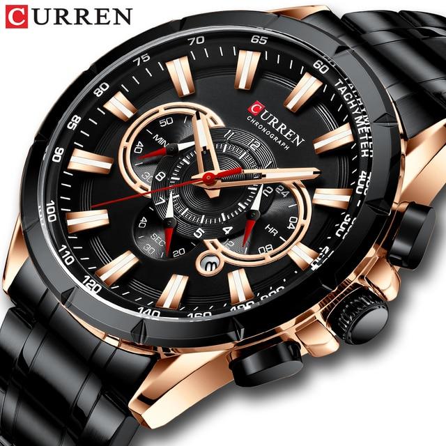 CURREN Mens Watch Fashion Sport Chronograph Wristwatch Mens Watches Top Brand Luxury Quartz Watch Stainless Steel Band