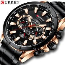 CURREN 남성용 시계 패션 스포츠 크로노 그래프 손목 시계 남성용 시계 브랜드 럭셔리 쿼츠 시계 스테인레스 스틸 밴드