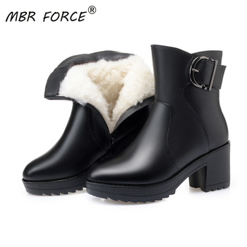 MBR FORCE 2020 new black mid calf wool snow boots women platform winter genuine leather snow boots heel luxury wool boots female autumn winter new suede leather female beautiful fringe boots sexy high heel long tassel mid calf boots tide women mid calf boot