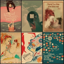 Comprar tres para enviar un eterno sol de la mente impecable película vintage cartel de papel Kraft Café bar decoración del hogar pintura