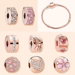 Rose Gold Color Orginal European Fashion Luxury Brand Clips and Stopper Charms for Original Women Pandora Charm Bracelet Gifts