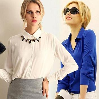 Women Fashion Work Wear Elegant Formal Office Blouse Plus Size Top Slim Shirt All-match perfect for