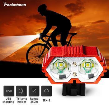 7600 światła rowerowe T6 wodoodporna ładowarka USB światła rowerowe wodoodporny reflektor led akcesoria rowerowe rowerowe lampy przednie tanie i dobre opinie POCKETMAN 20000LM Klin Przenośny reflektor Bicycle headlight Żarówki led 180 ° Handlebar 3-12V