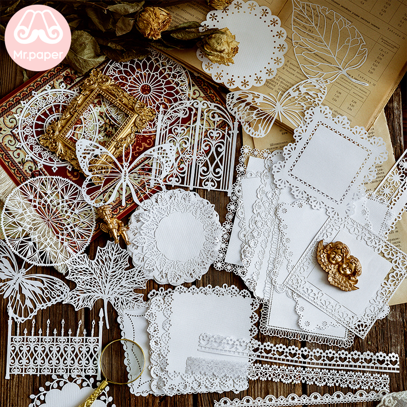 Mr.paper 8 Designs 10Pcs/lot Alice In Wonderland White Lace Paper Loose Leaf Bullet Journal Homemade White Lace Memo Pads