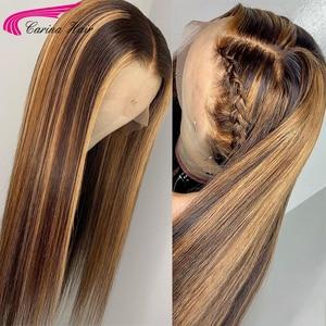 Image 3 - דבש גולת כותרת בלונדינית תחרה מול שיער טבעי פאות עם תינוק שיער 8 24 סנטימטרים ישר ברזילאי רמי שיער תחרת פאה עבור נשים