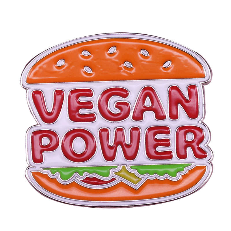 Veggie burger lapel pin vegan power brooch retro fast food badge Nostalgia 80s foodie gift image