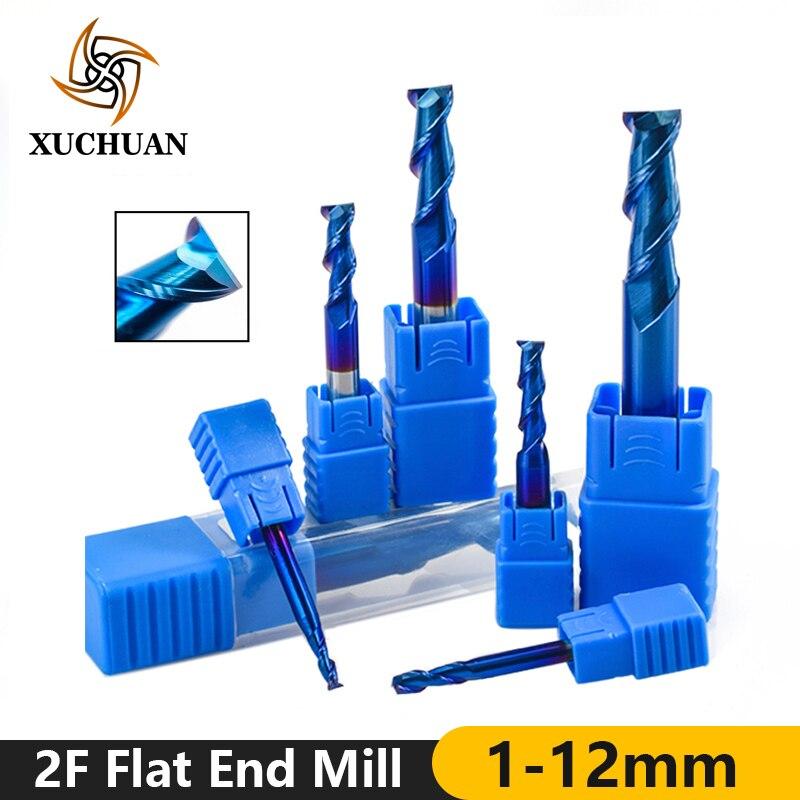 2 Flute End Mills Spiral End Milling Nano Blue Coating  Engraving Bit 1-12mm Flat Router Bit Tungsten Carbide Milling Cutter