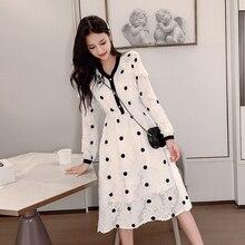 V Neck Polka Dot Dress Long Sleeve Korean Style Sweet Lady A Line Womens Autumn Winter Chic Midi White Elegant S-XL