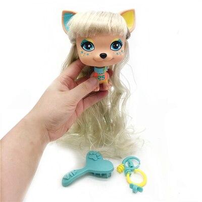 1 pces 11cm adorável velho animal de estimação vip cão pvc modelo presente brinquedo para bonecas do bebê