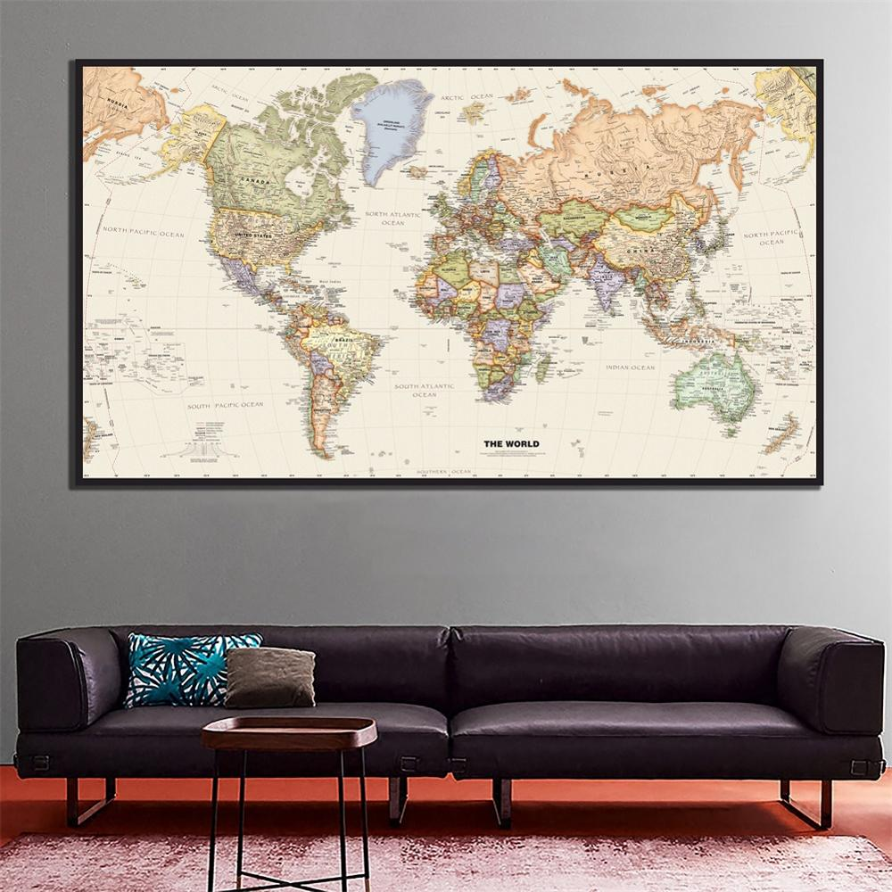 2x4ft The World Physical Map HD Canvas Painting School Office Wall Map Home Decor Crafts