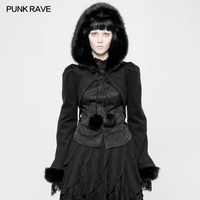 PUNK RAVE Gothic Lolita Women Fashion Cloak Punk Limitation Rabbit Hair Party Short Jacket Victorian Style Hooded Jacket Coat