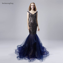 navy evening dress, formal mermaid sequin long dress