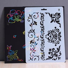 Scratch Painting Template Drawing Ruler DIY Scrapbooking Album Stencils Toy