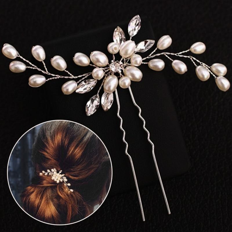 Handmade Wedding Elegant Bridal Pearl Silver Women Crystal Hair Pins  Bridesmaid Bridal Veil 1PC Flower Hair Accessories