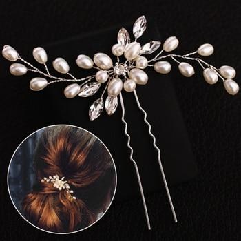 Handmade Wedding Elegant Bridal Pearl Silver Women Crystal Hair Pins  Bridesmaid Veil 1PC Flower Accessories