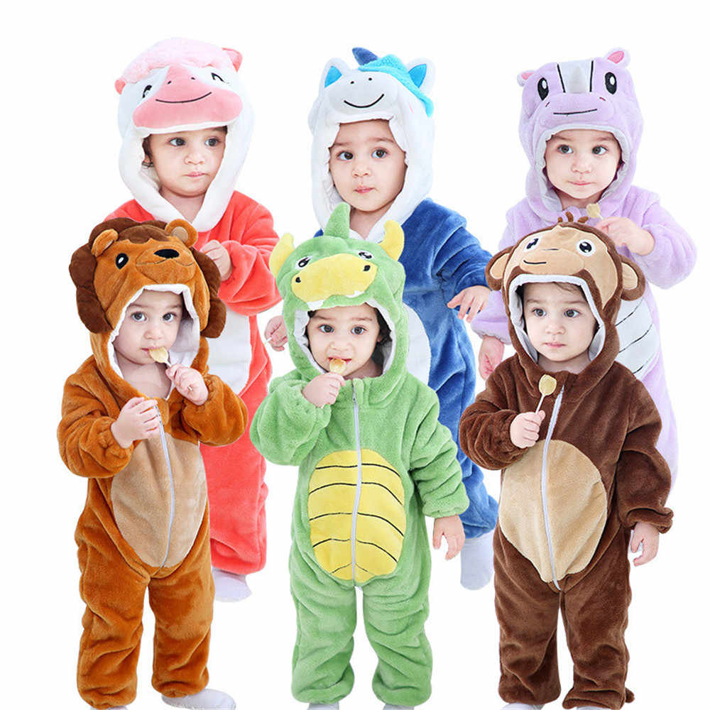 Infant Newborn Rompers Winter Animal Onesie Kids Jumpsuit Boy Girl Overalls Baby Lion Panda Monster Costumes Christmas Pajamas