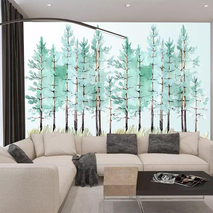 Modern Minimalist Mint Lulin Arts&cralts Qing Xin Woods TV Backdrop Mural Hand-Painted Living Room Bedroom Wallpaper Customizabl