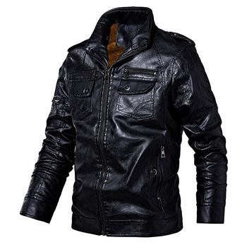 PYJTRL Mens Autumn Winter Fleece Lining Leather Jacket Fashion PU Washed Leather Motorcycle Jaket Men Bomber Camperas Thick Coat 8