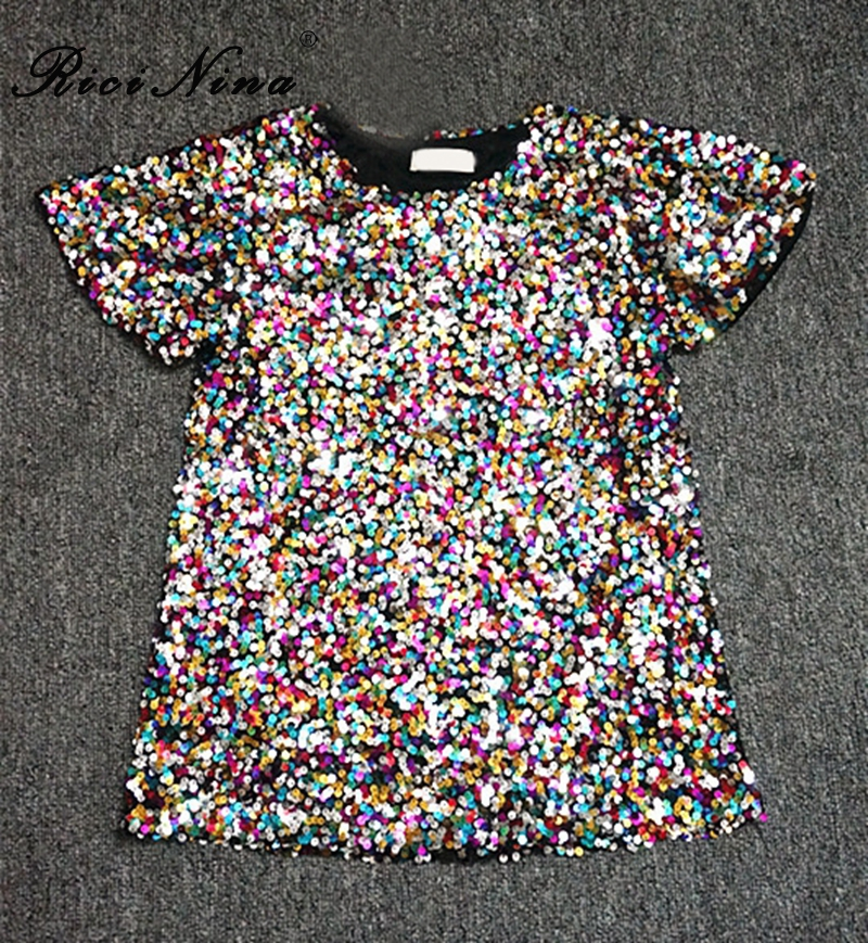 RICININA Womens T Shirts Casual Ladies Tops Short Sleeve O Neck Glitter Bling Christmas T Shirt Women 2020 Loose Tee Shirt Femme
