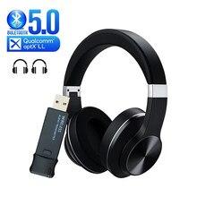Fone de ouvido sem fio + usb bluetooth 5.0 transmissor de áudio aptx ll baixa latência fone de ouvido super alta fidelidade graves profundos para tv pc ps4