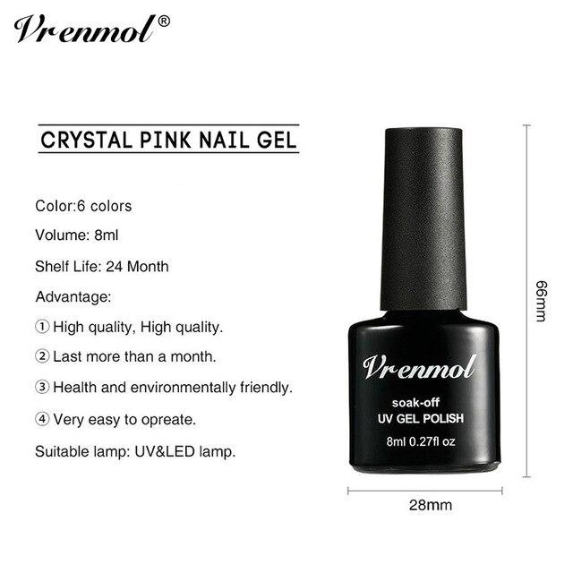 Vrenmol 1 sztuk francuski Nude różowa seria lakier do paznokci wzór zdobie na tipsy żel UV lakier przezroczysty klej do paznokci Need Top płaszcz podstawowy