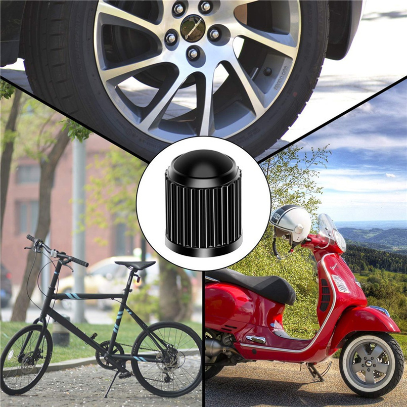 4pcs tire valve cap plastic car tire stem dust cover with sealing ring SUV motorcycle truck bicycle black valve cover 30N14 (8)