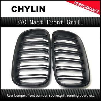 1 Pair L+R Matte Black Double Slat Kidney Grille Front Grill For BMW X5 X6 E70 E71 Car Styling Racing Grills 2007-2013 image