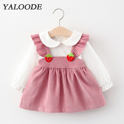 Платья для девочек, одежда для маленьких девочек, Осень-зима 2020, праздничное детское платье принцессы с клубничкой, платья, одежда для малыш...