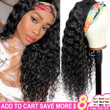 Headband Wig Human Hair Deep Wave Brazilian Remy Wig For Women Human Hair Machine Made Glueless Wig 150% Density Aircabin