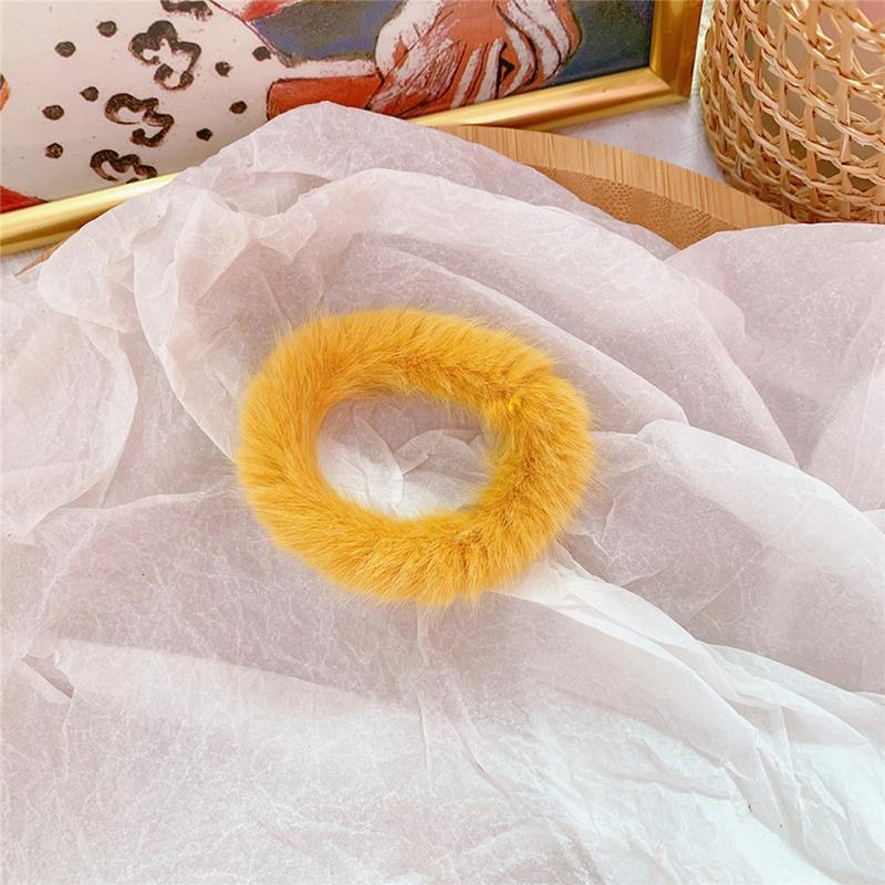 Мягкая Плюшевая повязка для волос резинки для волос натуральный мех кроличья шерсть мягкие эластичные резинки для волос для девочек однотонный цветной хвост резинки для волос для женщин - Цвет: 50