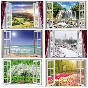 Laeacco Window Curtain Natural Mountain Hillside Grass Tree Scenic Photo Background Photography Backdrops Photocall Photo Shoot kate winter backdrops photography ice snow tree scenery photo shoot white forest world backdrops for photo studio