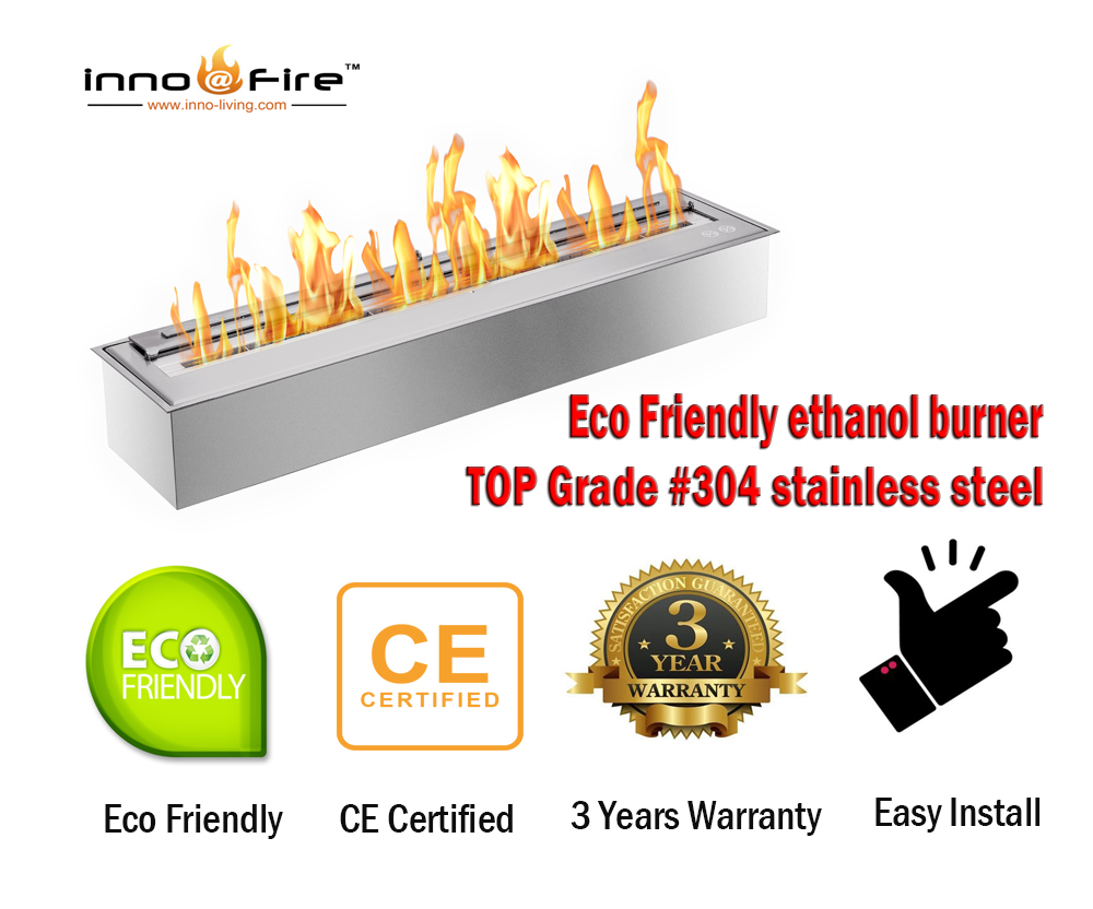 Inno Living Fire  48 Inch Indoor Stainless Ethanol Fire Pit Burner Insert
