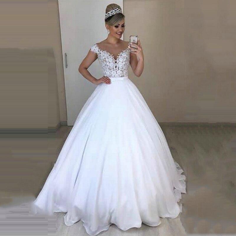 Vestido De Noiva Long Unique Bowknot Two Pieces Lace Chiffion A Line 2 In 1 Wedding Dresses Detachable Skirt Bridal Dress