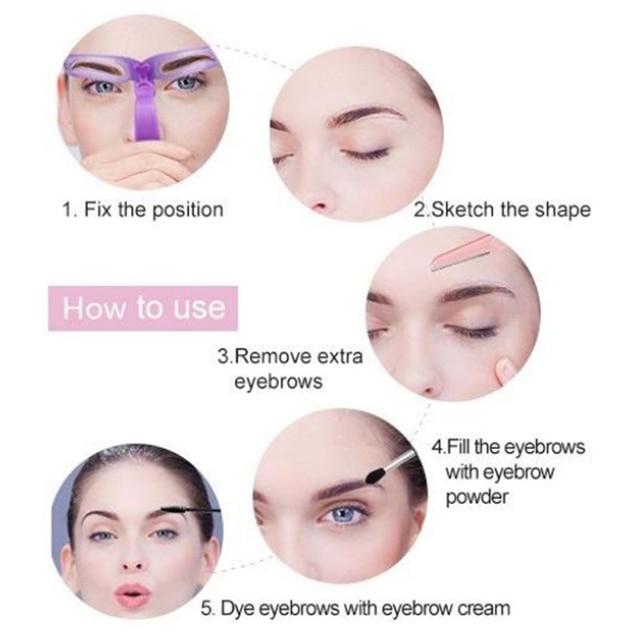 Reusable 8 in1 Eyebrow Shaping Template Helper Eyebrow Stencils Kit Grooming Card Eyebrow Defining Makeup Tools 5