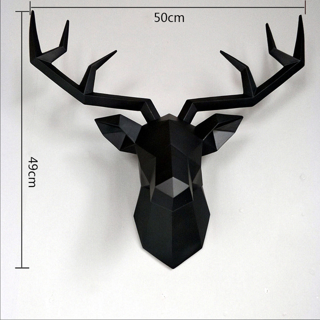 Big Deer Statue Sculpture Home Decor 50x49x20cm Hanging Wall Decoration Accessories Living Room Decor Elk Abstract Sculpture 3