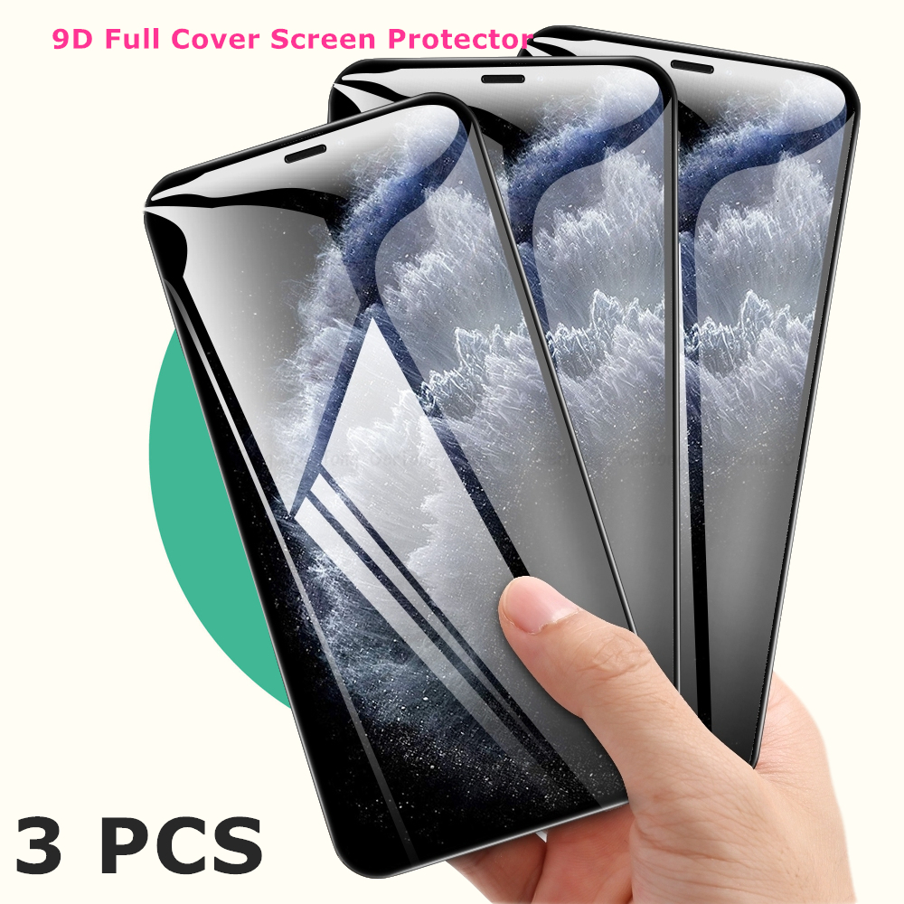 3pcs 9D Full Cover Protective Tempered Glass For IPhone 11 7 8 6 6s Plus Screen Protector For IPhone X XR XS 11 Pro Max 9H Glass