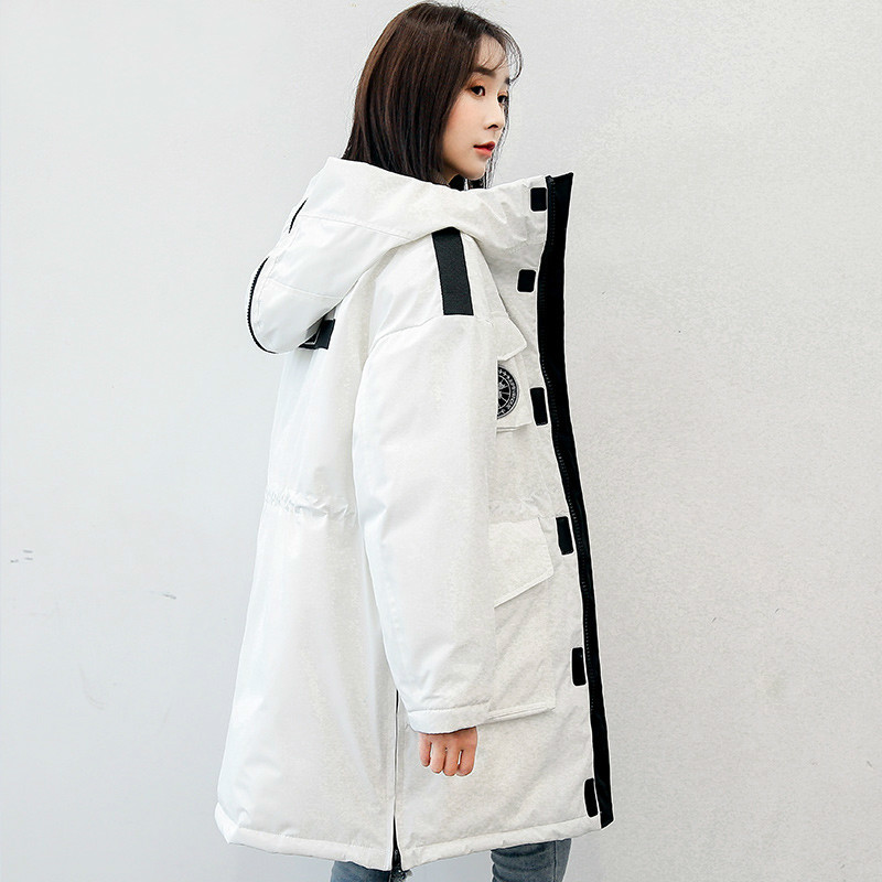 White Duck Down Jacket Woman Hooded Loose Korean Winter Women Coat Parka Femme Jackets Abrigo Invierno Mujer KJ447