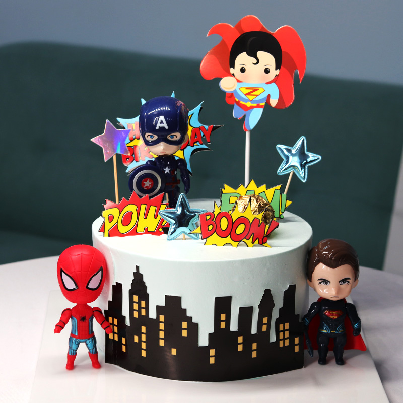 Birthday Cake Toppers Cartoon Characters Inserts Border Happy Birthday Cake Flags Baking Cake Decorations Kids Party Flags Cake Decorating Supplies Aliexpress