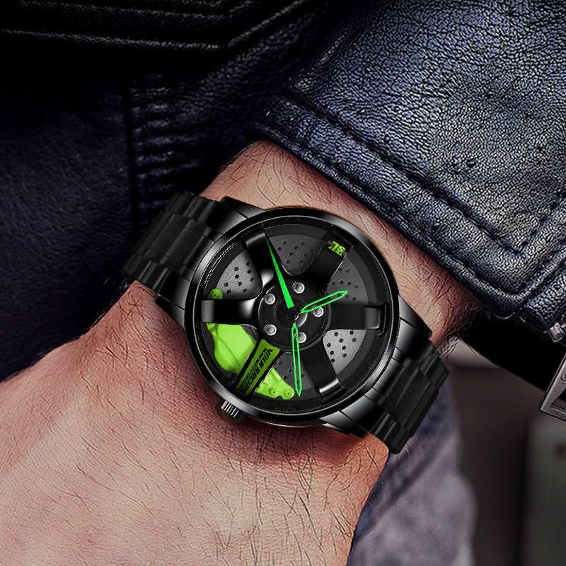 Nibosi relógio de pulso impermeável, relógios masculinos, jante, carro, hub te37, design personalizado, esporte, relógio de pulso masculino, roda, criativo, 2020