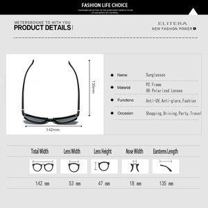 Image 5 - ELITERA Square Wide Frame Sunglasses For Men Women Polarized Glasses