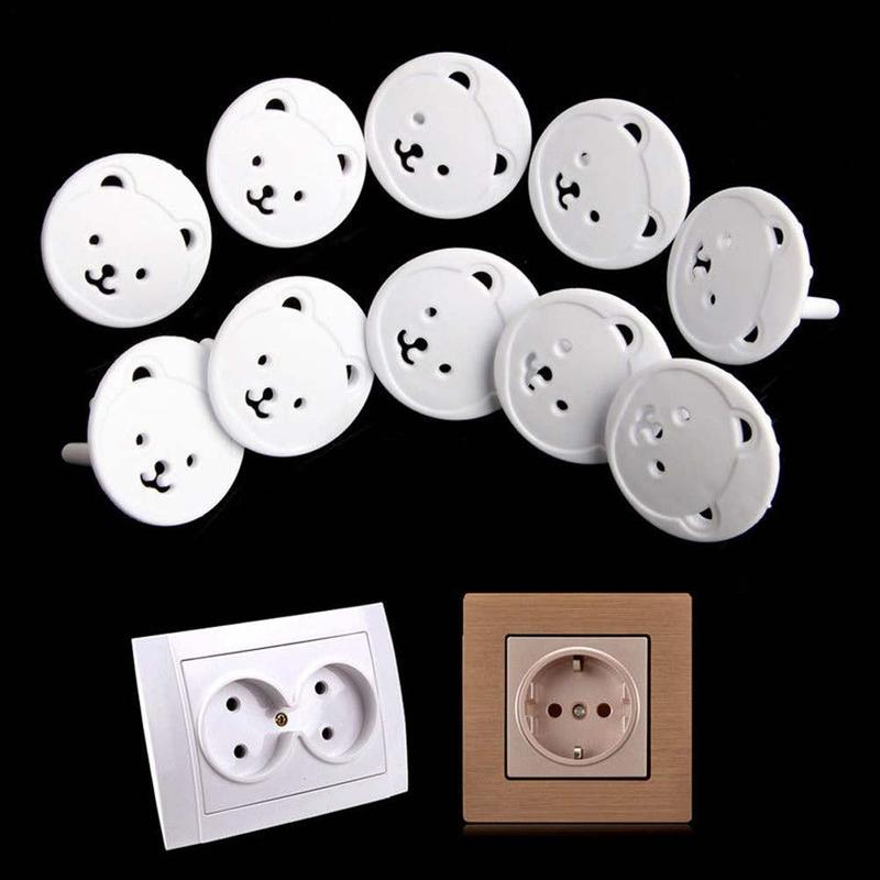 10pcs European Standard Bear Thickened Round Head Child Power Outlet Protection Cover Baby Anti-electric Safety Socket Cover