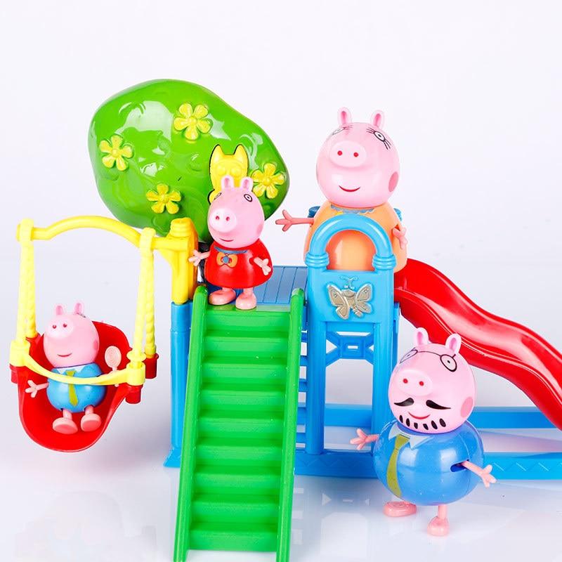 Peppa Pig Action Figure Slide Swing Set Pretend Play Toy Model Set Amusement Park PeppaPig Family&Classmates Children Kids Gift