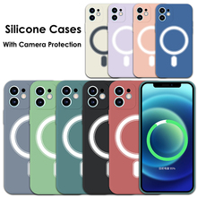 Magnetic Liquid Silicone Shell For iPhone 11 12 Pro Max Mini XS XR X SE 2020 8 7 Magesafe Macsafe Shockproof Case Back Cover