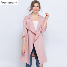Autumn Spring Trench Plus Size 5xl-l 2019 Pink Casual Turn-down Collar Three Qua