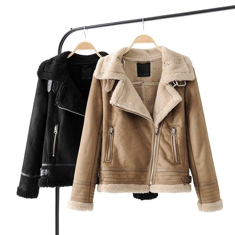 Khaki   Suede   Jacket Women Autumn Winter Fashion Lamb Wool Liner Warm Zipper Streetwear Biker   Leather   Coats Ladies Short Outerwear