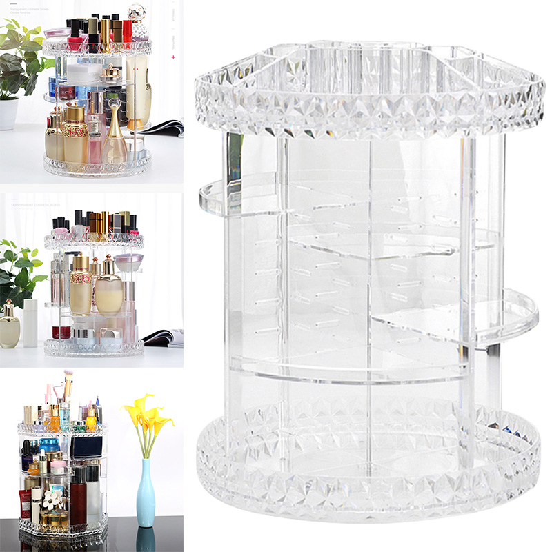 High Quality 360 Rotating Crystal Cosmetic Storage Box Multifunction Detachable Makeup Organizer Crystal Helf Display Stand High