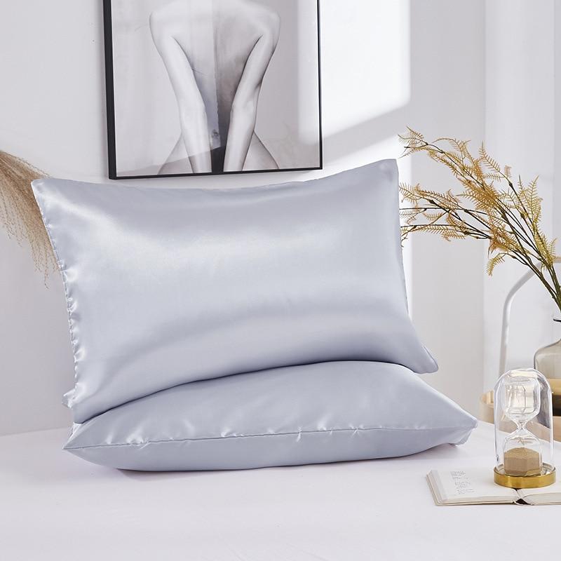 Emulation Silk 1PC Satin Pillow Case Solid Color Standard Queen King Pillowcase Pillow Case
