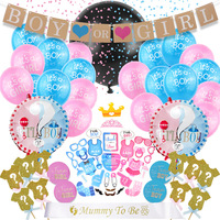36 Inch Gender Reveal Balloon Girl or Boy Black Latex Balloon Stickers Confetti Baby Shower Gender Reveal Party Supplies